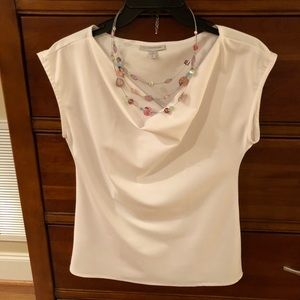 Cowl Neck White Blouse -Size Small